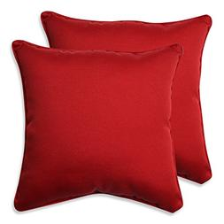 Pillow Perfect Decorative Red Solid Toss Pillows, Square, 2-