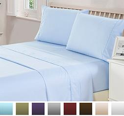 4 Piece Deep Pocket 1800 Series Bed Sheet Set Comfortable, B