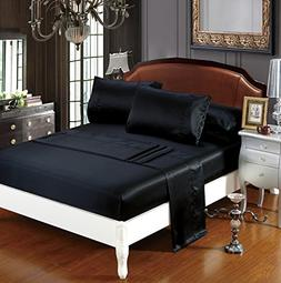 DelbouTree Silky Soft Solid Matte-Satin Bed Sheet Sets Shiny