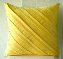 Handmade Yellow Throw Pillow Covers, Textured Pintucks Solid