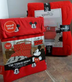 Disney Mickey Mouse 5 Pc Quilt Sham Sheet Bed Set ~ NEW Red