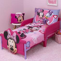 Disney Minnie Mouse Hearts and Bows 4 Piece Toddler Bed Set