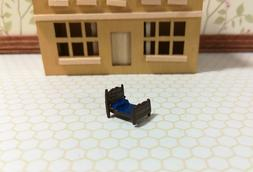 Dollhouse Miniature 1:144 Scale Bed with Blue Sheets Micro M