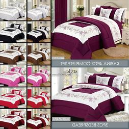 Double Size 4 Piece Embroidered Duvet Cover Bedding Set with