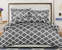 Printed Duvet Cover Set with 2 Pillow Shams Brushed Microfib