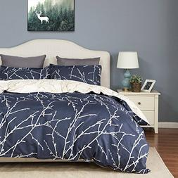 Bedsure Duvet Cover Set with Zipper Closure-Blue/beige Branc