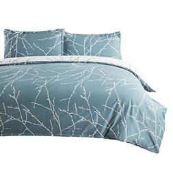 Bedsure Duvet Cover Set with Zipper Closure-Teal/White Print
