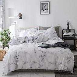 Duvet Cover Set White Marble 3 Piece Bed Set 100% Cotton wit