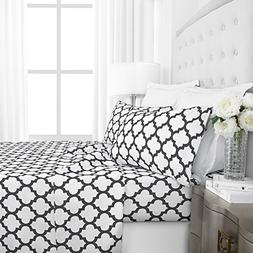 Egyptian Luxury 1800 Hotel Collection Quatrefoil Pattern Bed