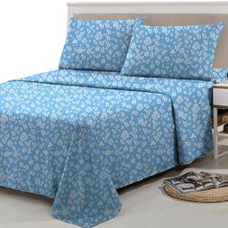 4 Piece Floral Bed Sheet Set Deep Pocket Egyptian Comfort 18