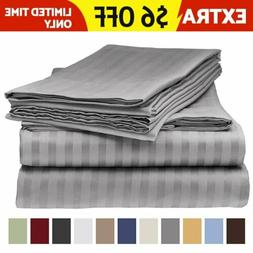 Egyptian Comfort Deep Pocket 6PCS Bed Sheet Set Sheets Strip