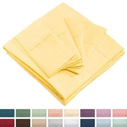 Cosy House Collection Elegant Bed Sheets - Cal King Size, Ye