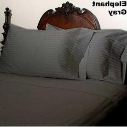 ELEPHANT GRAY STRIPE SHEET SET KING SIZE 1000 THREAD COUNT E