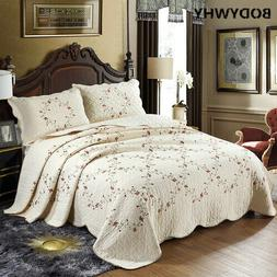 Embroidered Bedspread Cotton Quilt Set 3PCS Quilted Coverlet