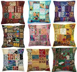 """10pc Embroidered Sari Patchwork Cushion Cover , 17x17"""" India"""