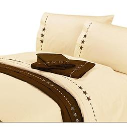 HiEnd Accents Embroidered Star Western Sheet Set, Twin, Crea