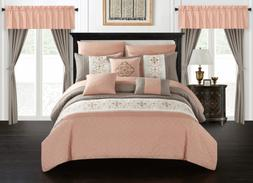 Chic Home Emily 20 Piece Comforter Set Color Block Floral Em