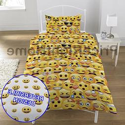 Emoji Multi Smiley Faces Single/US Twin Duvet Set and Pillow