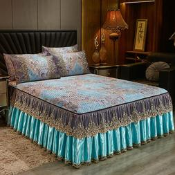 Europe Summer Ice Silk Bed Cover Queen Bedspread Set Quilted
