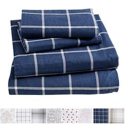 Great Bay Home Extra Soft Windowpane 100% Turkish Cotton Fla