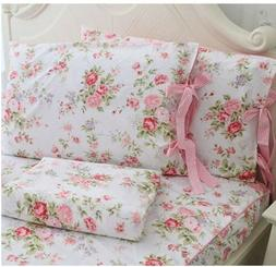 Fadfay Cotton Bed Sheets Set Shabby Rose Floral Print Sheet