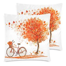 InterestPrint Fall Big Tree Leaf with Bicycle Pillow Cushion