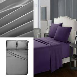 4xCotton Queen Bed Sheets Ultra Soft Bedding Flat Sheets Duv