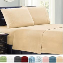 Mellanni Flannel Cotton 4 Piece Bed Sheet Set - Deep Pocket,