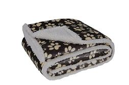 Longrich Flannel Paw Print & Ultra Soft Sherpa Throw Blanket