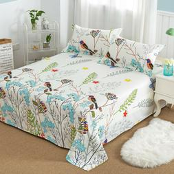 Floral Printed Flat Sheet 100% Cotton Bed Sheet Pillowcase f