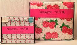 Betsey Johnson Forever Roses 7 PC Set Full/Queen Quilt & Pic