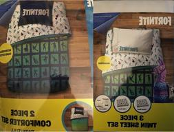 Fortnite Twin/Full Comforter Sheet Sham PillowCase Bedding S