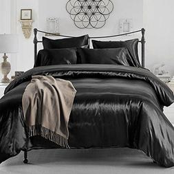 FP 4pcs Silk Sheet Set Queen King Size Satin Solid Color Bed