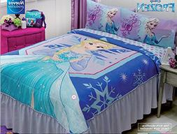 Frozen Elsa Disney Comforter Blue Bedspread Sheet Set Twin 4
