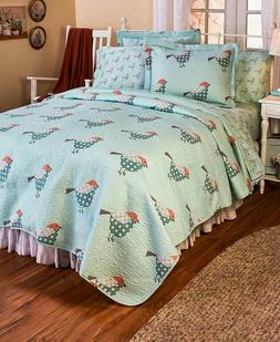 Full Queen King Sparrow Quilt Set Country Patchwork Birds Be