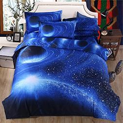 Cliab Galaxy Bedding Blue for Kids Boys Girls Full Size Oute