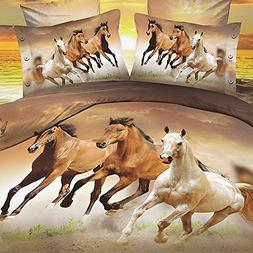 Babycare Pro Galloping Horse 3D Bedding Sets King Duvet Cove