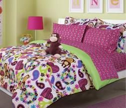 Girl's peace, love and monkey print comforter set with sheet