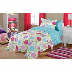 Girls Teens Kids Flower Pink Blue Bed Bedding Flowers Comfor