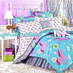Girls Western Pink PONY HORSE BEDDING 6-8p Turquoise Blue CO