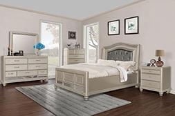 Glamorous Contemporary Lovely Brittany Bronze Finish 4pc Bed