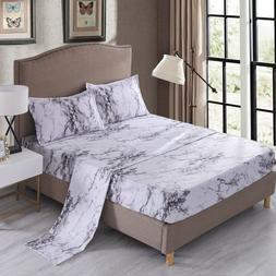Gray Marble Sheet Set Bed Sheets Fitted Sheet Flat Sheet Pil