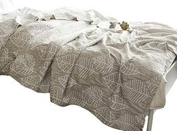 MEJU Grey Leaves Muslin Lightweight Summer Blanket Full for