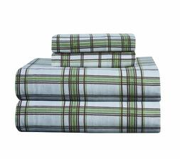Pointehaven Heavy Weight Printed Flannel King Sheet Set, Pla