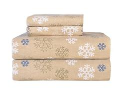 Pointehaven Heavy Weight Printed Flannel Sheet Set, King, Sn