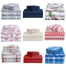 Heavy Winter Flannel 100% Cotton Sheet Set Fitted Flat Pillo