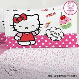 Hello Kitty Cherry Red Pillowcase Sheet Set Full 4PC Sanrio