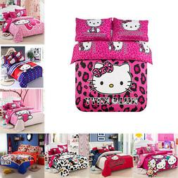 New Hello Kitty Bedding Sets 4pc kids duvet cover bed sheet