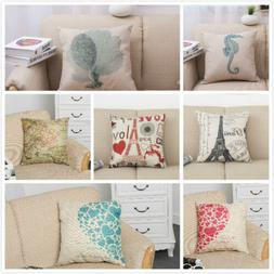 Home Decorative Cotton Linen Square Pillow Case Sofa Waist T