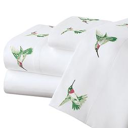 Collections Etc Hummingbird Spring Embroidered Bed Sheet Set